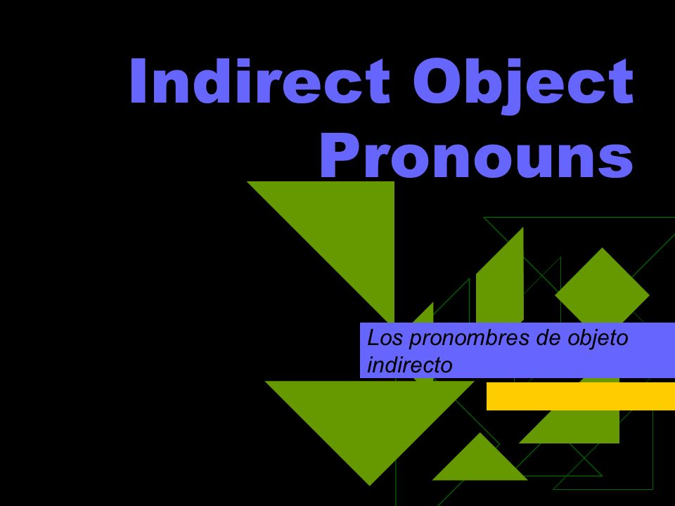 Weve seen three types of pronouns so far: Subject: yo, tú, él… Reflexive: me, te, se… Direct object: me, te, lo, la… In this slide show, we are going to look at one more type: indirect objects.