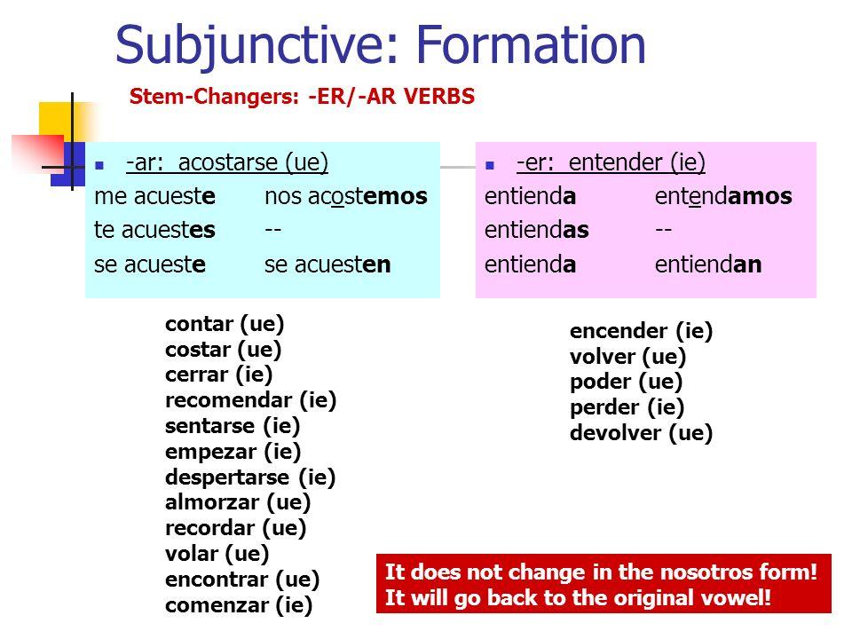 Subjunctive: Formation -ar: acostarse (ue) me acuestenos acostemos te acuestes-- se acuestese acuesten -er: entender (ie) entiendaentendamos entiendas-- entiendaentiendan Stem-Changers: -ER/-AR VERBS encender (ie) volver (ue) poder (ue) perder (ie) devolver (ue) contar (ue) costar (ue) cerrar (ie) recomendar (ie) sentarse (ie) empezar (ie) despertarse (ie) almorzar (ue) recordar (ue) volar (ue) encontrar (ue) comenzar (ie) It does not change in the nosotros form.