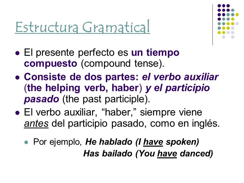 Estructura Gramatical El presente perfecto es un tiempo compuesto (compound tense).