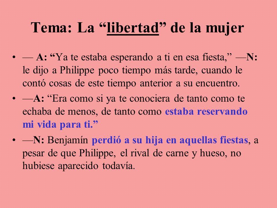 Tema: La libertad de la mujer A: Ya te estaba esperando a ti en esa fiesta, N: le dijo a Philippe poco tiempo más tarde, cuando le contó cosas de este