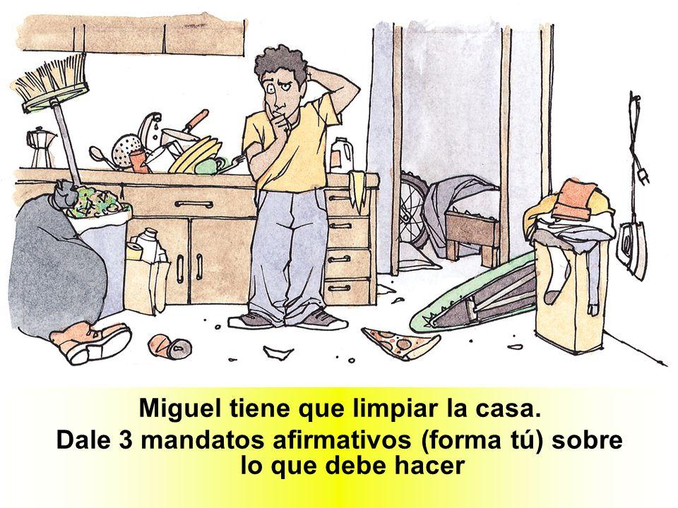 Miguel tiene que limpiar la casa. Dale 3 mandatos afirmativos (forma tú) sobre lo que debe hacer