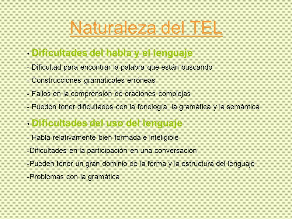 Naturaleza del TEL Dificultades del habla y el lenguaje - Dificultad para encontrar la palabra que están buscando - Construcciones gramaticales erróne