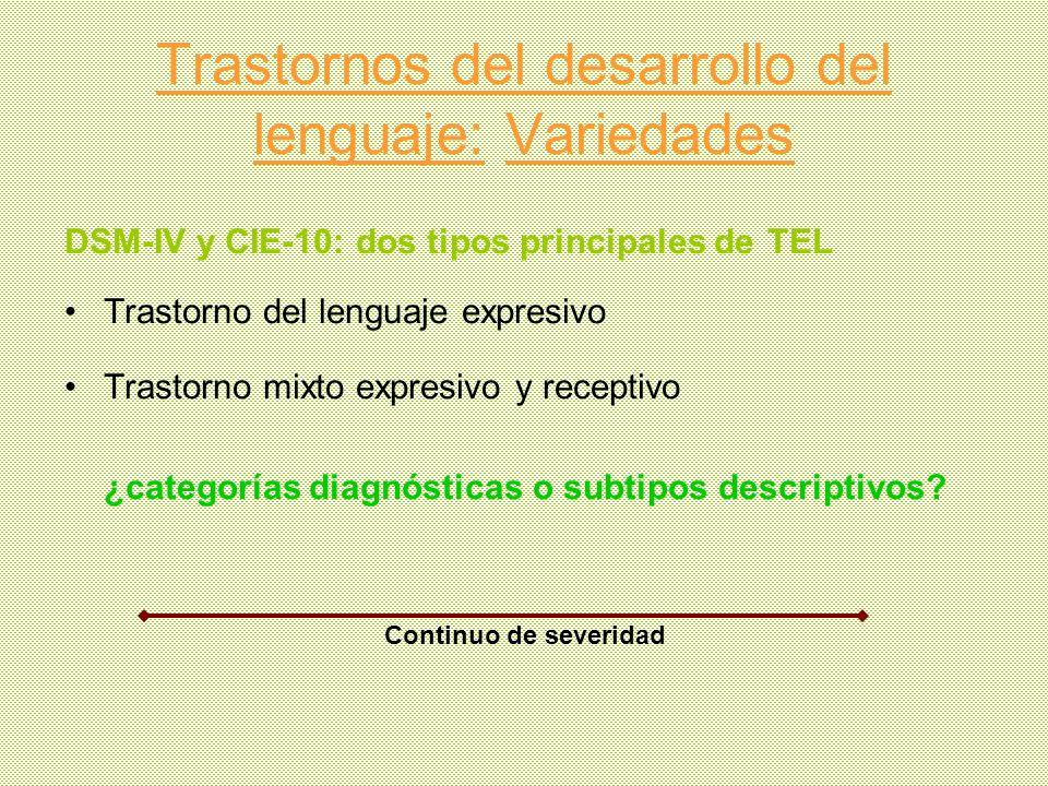 Trastornos del desarrollo del lenguaje: Variedades DSM-IV y CIE-10: dos tipos principales de TEL Trastorno del lenguaje expresivo Trastorno mixto expr