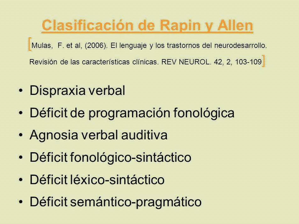 Clasificación de Rapin y Allen [ Mulas, F. et al, (2006). El lenguaje y los trastornos del neurodesarrollo. Revisión de las características clínicas.