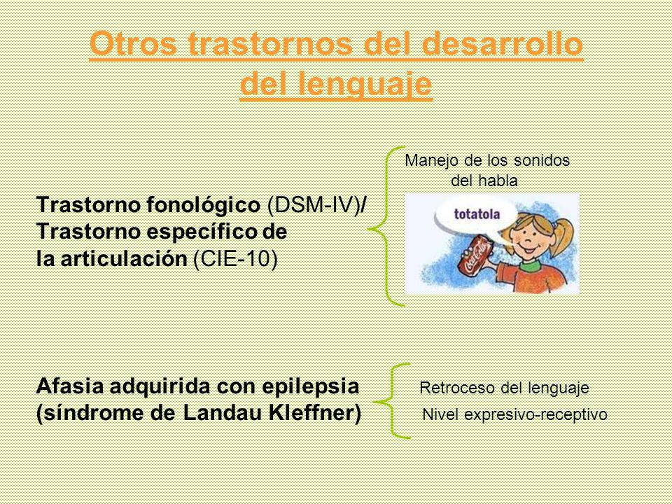 Otros trastornos del desarrollo del lenguaje Manejo de los sonidos del habla Trastorno fonológico (DSM-IV)/ Trastorno específico de la articulación (C
