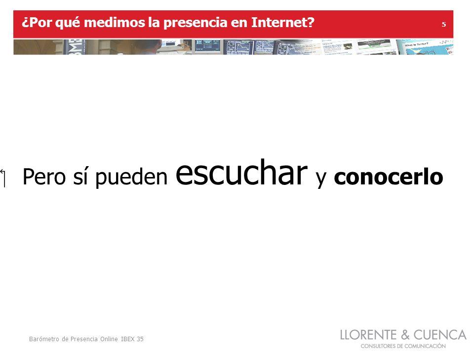 Barómetro de Presencia Online IBEX 35 5 Pero sí pueden escuchar y conocerlo ¿Por qué medimos la presencia en Internet