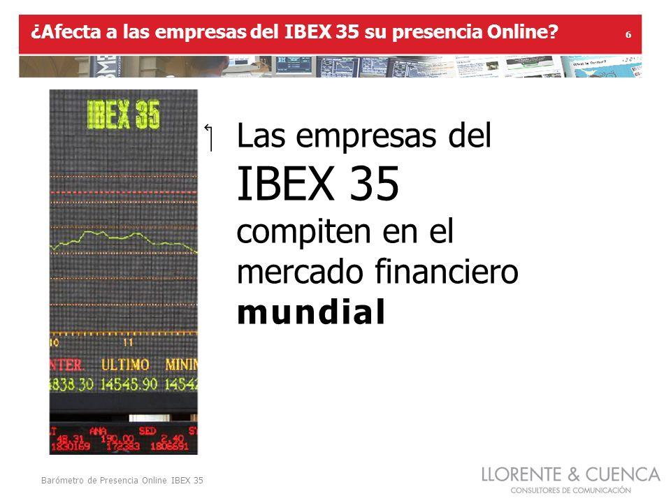 Barómetro de Presencia Online IBEX 35 6 Las empresas del IBEX 35 compiten en el mercado financiero mundial ¿Afecta a las empresas del IBEX 35 su presencia Online