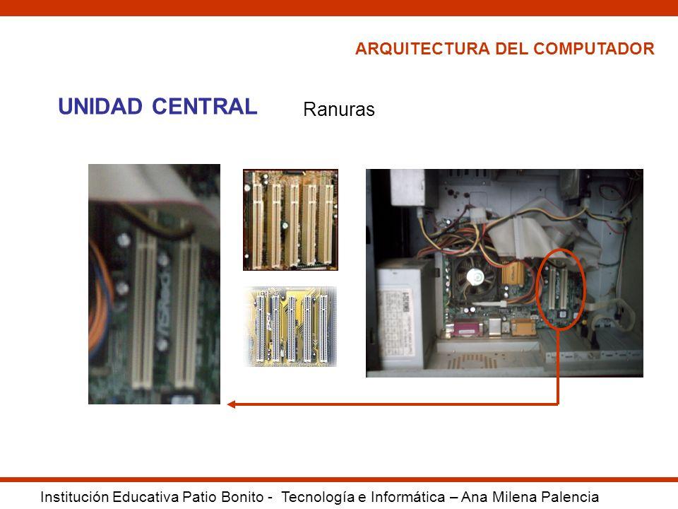 ARQUITECTURA DEL COMPUTADOR Institución Educativa Patio Bonito - Tecnología e Informática – Ana Milena Palencia UNIDAD CENTRAL Ranuras