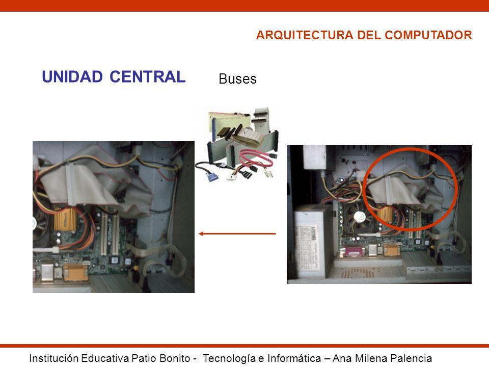 ARQUITECTURA DEL COMPUTADOR Institución Educativa Patio Bonito - Tecnología e Informática – Ana Milena Palencia UNIDAD CENTRAL Buses