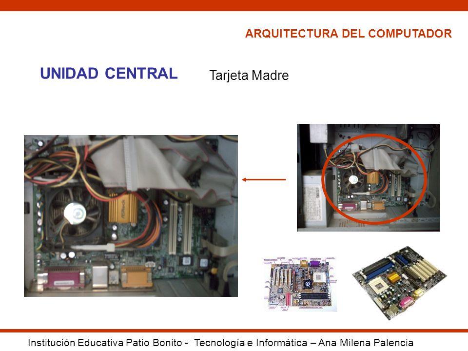 ARQUITECTURA DEL COMPUTADOR Institución Educativa Patio Bonito - Tecnología e Informática – Ana Milena Palencia UNIDAD CENTRAL Tarjeta Madre