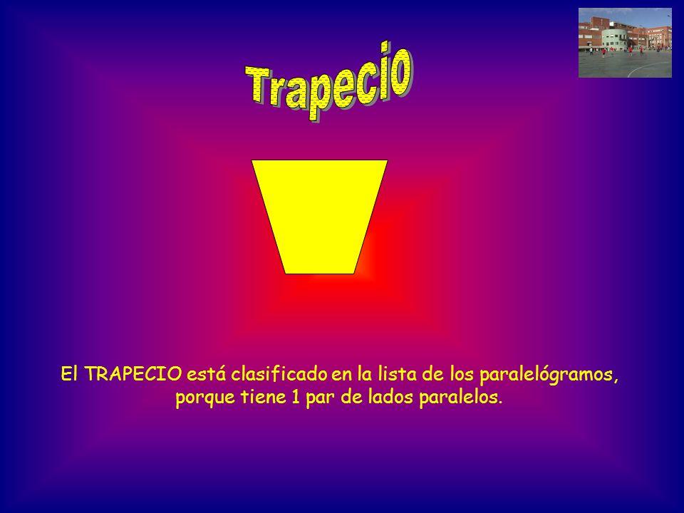 El TRAPECIO está clasificado en la lista de los paralelógramos, porque tiene 1 par de lados paralelos.