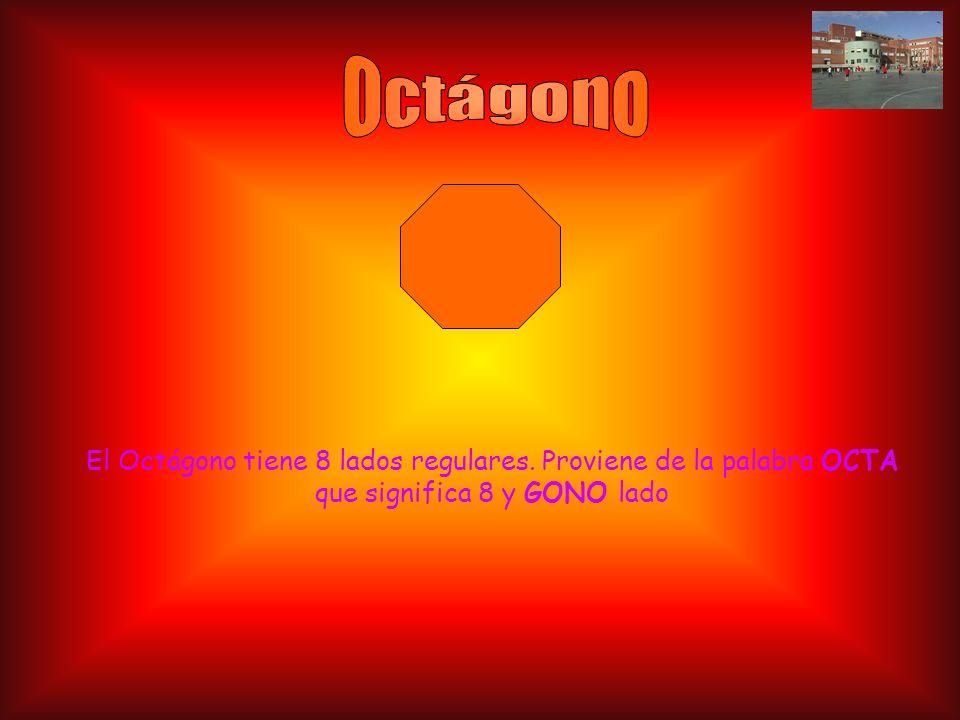 El Octágono tiene 8 lados regulares. Proviene de la palabra OCTA que significa 8 y GONO lado