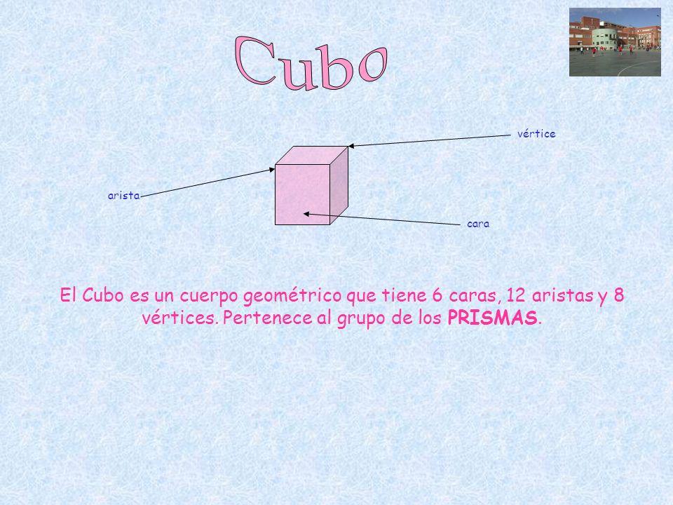 El Cubo es un cuerpo geométrico que tiene 6 caras, 12 aristas y 8 vértices. Pertenece al grupo de los PRISMAS. arista cara vértice