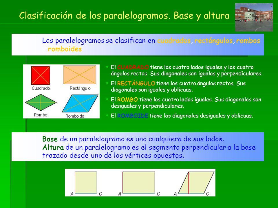 Clasificación de los paralelogramos. Base y altura Los paralelogramos se clasifican en cuadrados, rectángulos, rombos y romboides. El CUADRADO tiene l