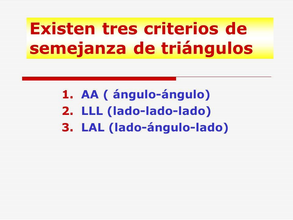 Criterios de semejanza de triángulos Existen algunos principios que nos permiten determinar si dos triángulos son semejantes sin necesidad de medir y comparar todos sus lados y todos sus ángulos.
