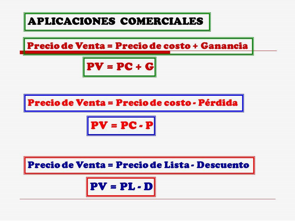 APLICACIONES COMERCIALES Precio de Venta = Precio de costo + Ganancia Precio de Venta = Precio de costo - Pérdida PV = PC + G PV = PC - P Precio de Venta = Precio de Lista - Descuento PV = PL - D