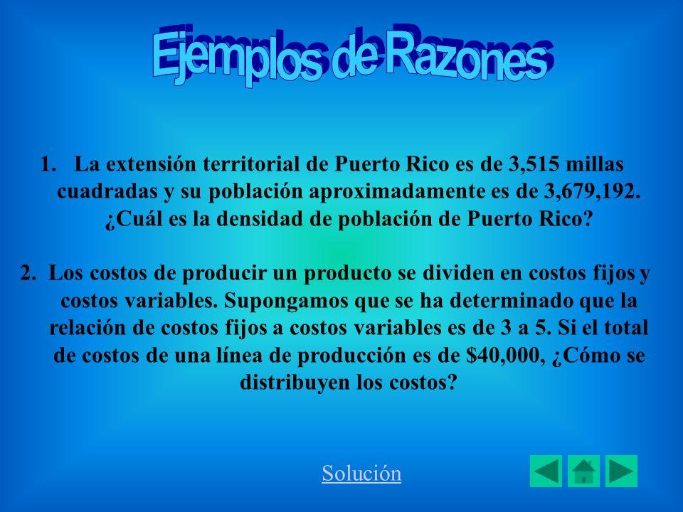 1.La extensión territorial de Puerto Rico es de 3,515 millas cuadradas y su población aproximadamente es de 3,679,192. ¿Cuál es la densidad de poblaci