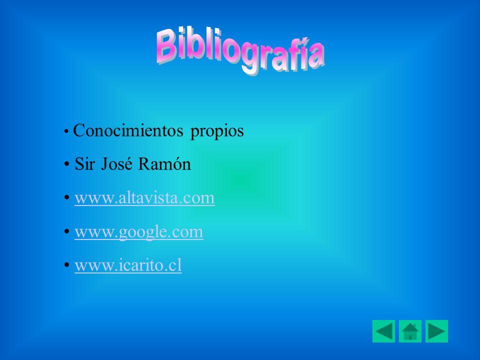 Conocimientos propios Sir José Ramón www.altavista.com www.google.com www.icarito.cl
