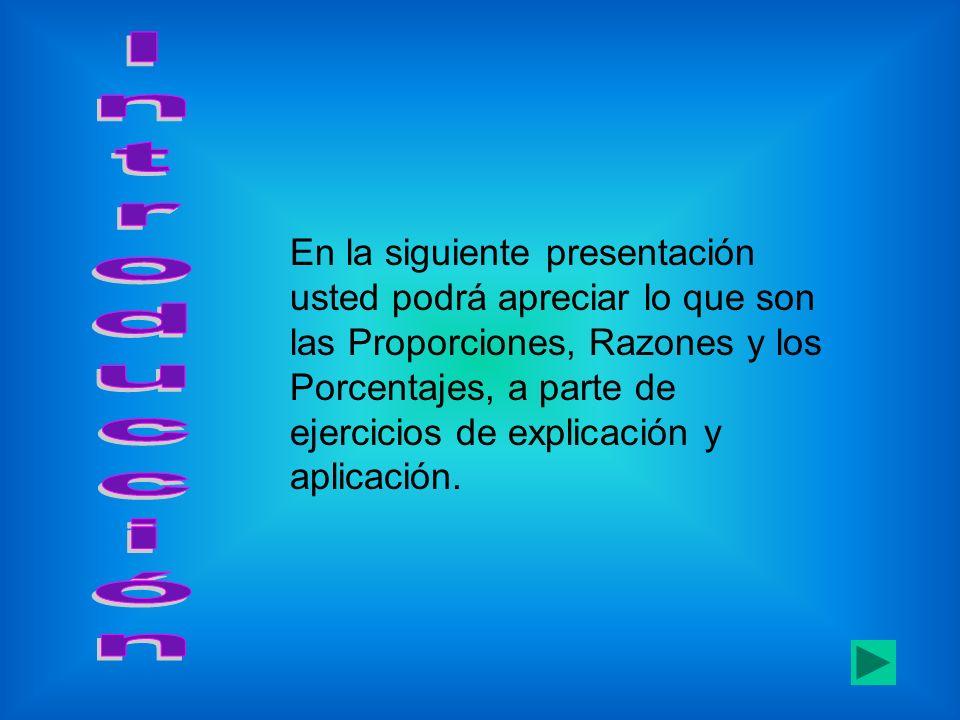 En la siguiente presentación usted podrá apreciar lo que son las Proporciones, Razones y los Porcentajes, a parte de ejercicios de explicación y aplic