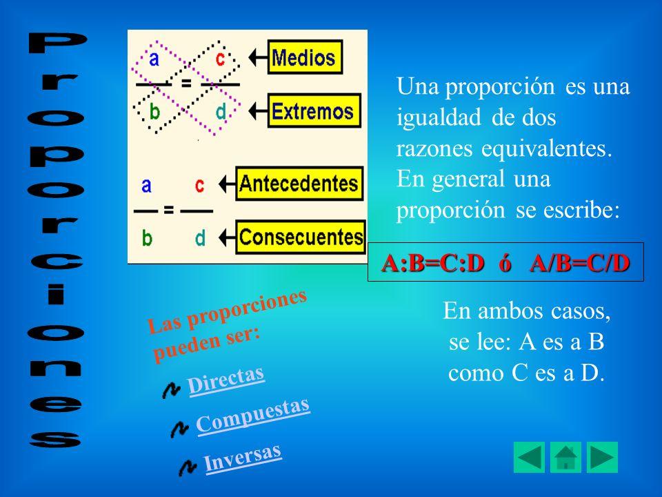 Una proporción es una igualdad de dos razones equivalentes. En general una proporción se escribe: A:B=C:D ó A/B=C/D En ambos casos, se lee: A es a B c