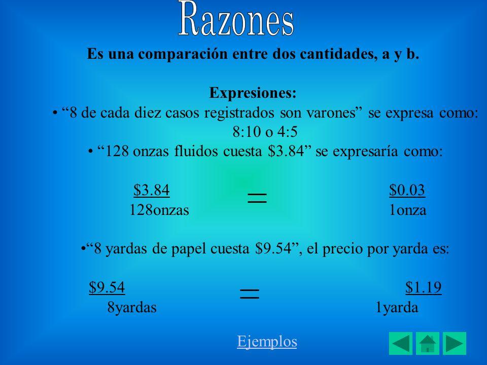 Es una comparación entre dos cantidades, a y b. Expresiones: 8 de cada diez casos registrados son varones se expresa como: 8:10 o 4:5 128 onzas fluido