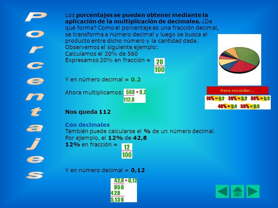 Los porcentajes se pueden obtener mediante la aplicación de la multiplicación de decimales. ¿De qué forma? Como el porcentaje es una fracción decimal,