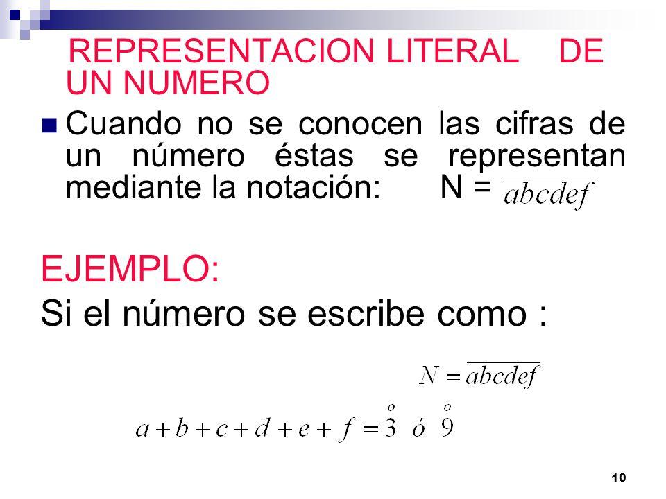 10 REPRESENTACION LITERAL DE UN NUMERO Cuando no se conocen las cifras de un número éstas se representan mediante la notación:N = EJEMPLO: Si el númer