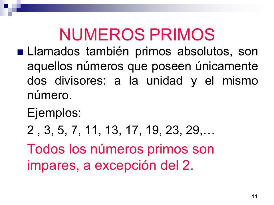11 NUMEROS PRIMOS Llamados también primos absolutos, son aquellos números que poseen únicamente dos divisores: a la unidad y el mismo número. Ejemplos