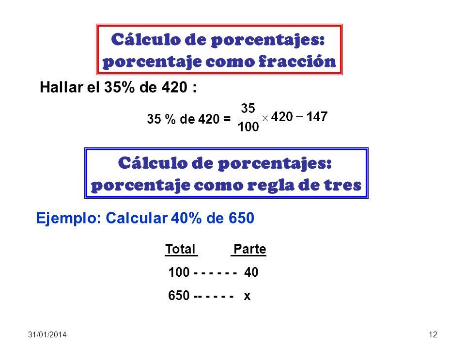 31/01/201411 CONCEPTO DE PORCENTAJE La expresión porcentaje ó tanto por ciento equivale a tantos de cada 100. Es decir, hablar del 40% es hablar de 40