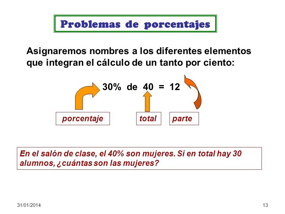 31/01/201412 Cálculo de porcentajes: porcentaje como fracción Hallar el 35% de 420 : 35 % de 420 = Cálculo de porcentajes: porcentaje como regla de tr