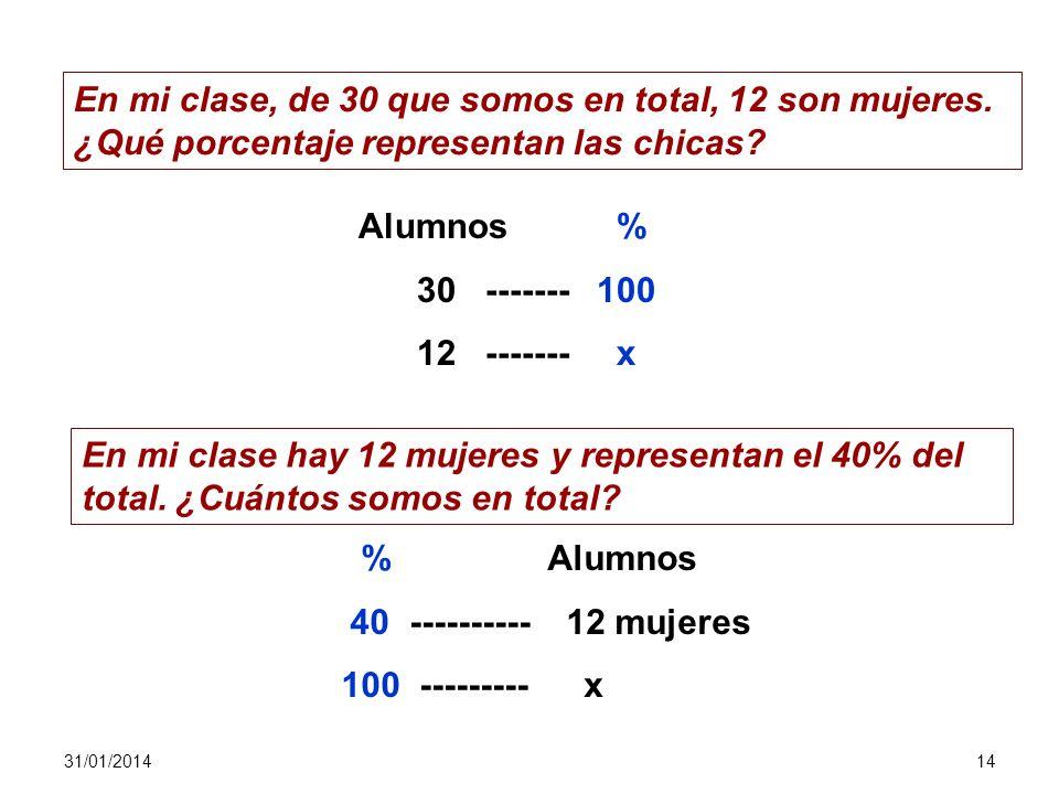 31/01/201413 Problemas de porcentajes Asignaremos nombres a los diferentes elementos que integran el cálculo de un tanto por ciento: 30% de 40 = 12 po
