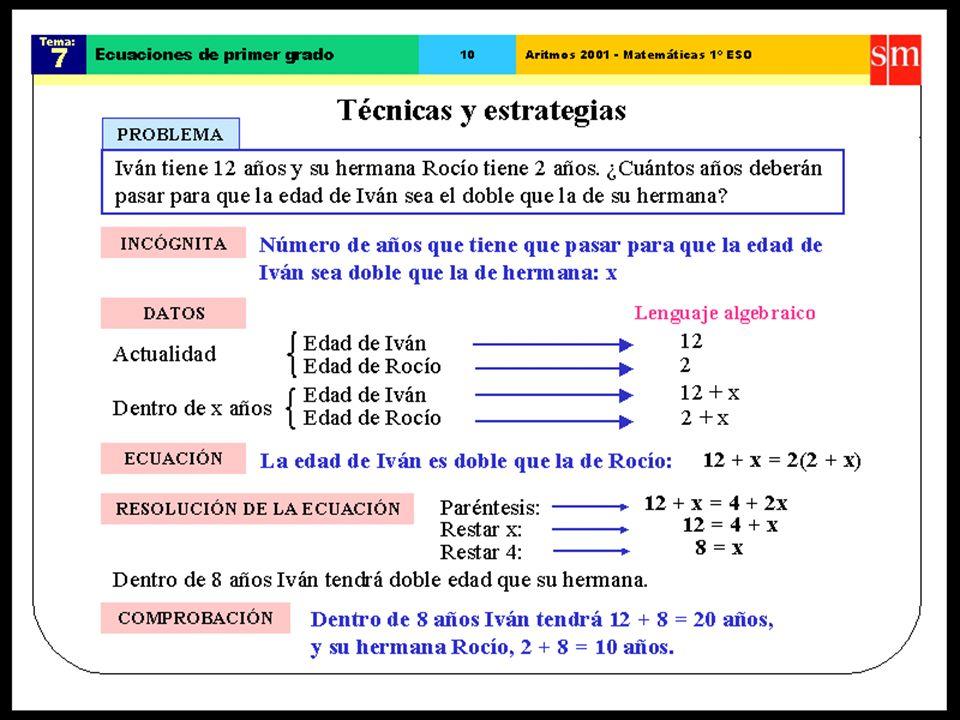 31/01/201423 Enunciado del problema (lenguaje común) Ecuación (lenguaje matemático) La edad de Juan es dos veces más que la edad de María. María Juan