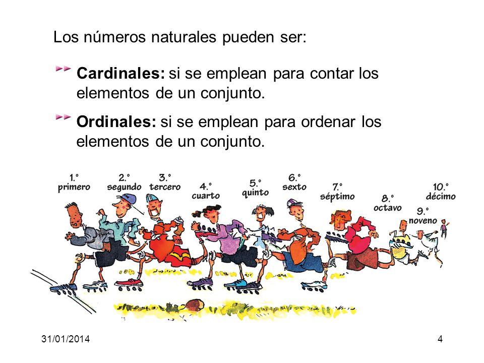 31/01/20144 Cardinales: si se emplean para contar los elementos de un conjunto.