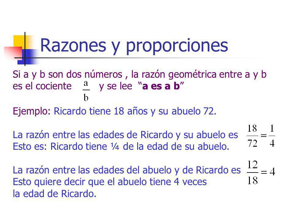 Razones y proporciones a es a b Si a y b son dos números, la razón geométrica entre a y b es el cociente y se lee a es a b Ejemplo: Ricardo tiene 18 a