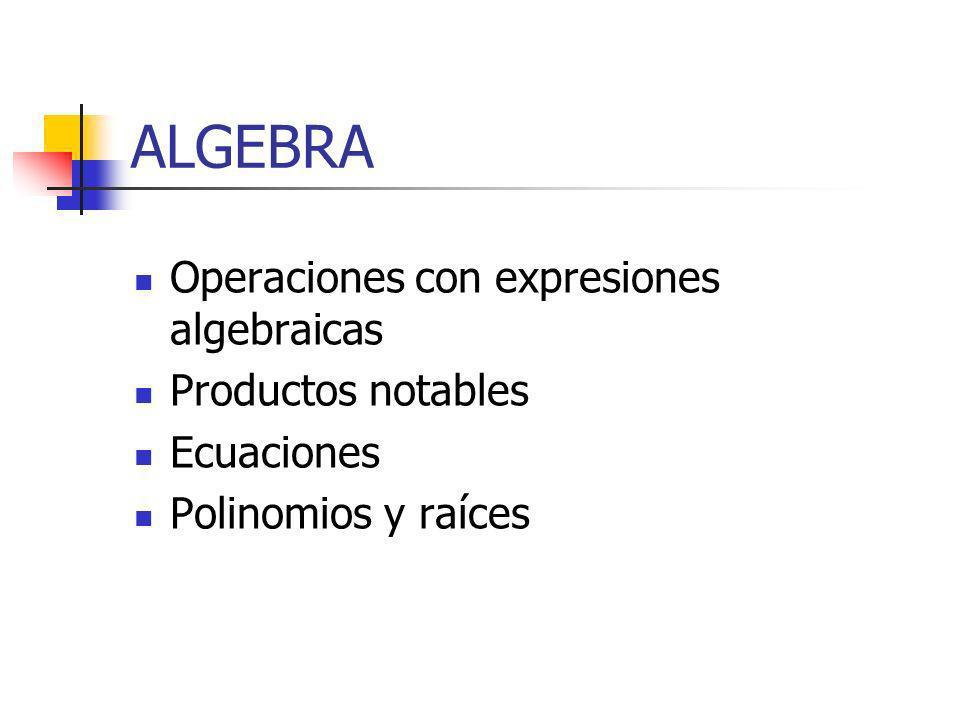 ALGEBRA Operaciones con expresiones algebraicas Productos notables Ecuaciones Polinomios y raíces