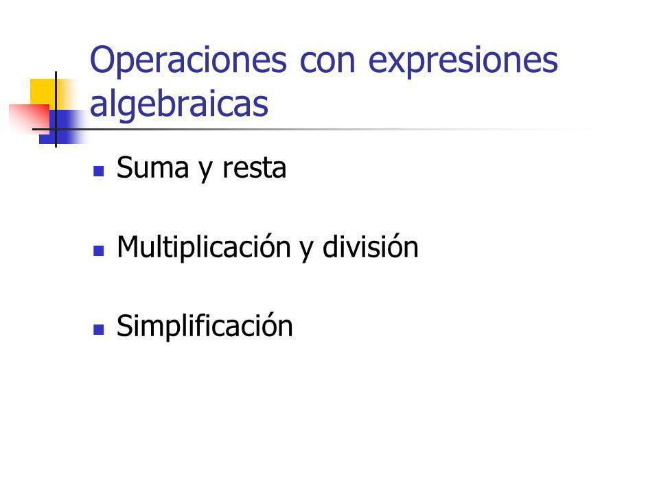 Operaciones con expresiones algebraicas Suma y resta Multiplicación y división Simplificación