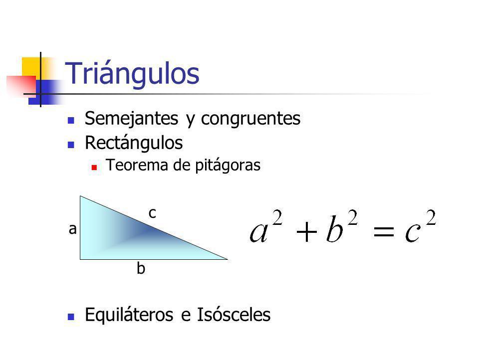 Triángulos Semejantes y congruentes Rectángulos Teorema de pitágoras Equiláteros e Isósceles a b c