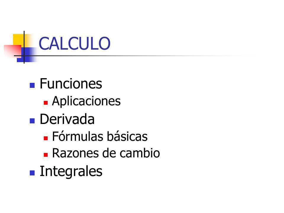 CALCULO Funciones Aplicaciones Derivada Fórmulas básicas Razones de cambio Integrales