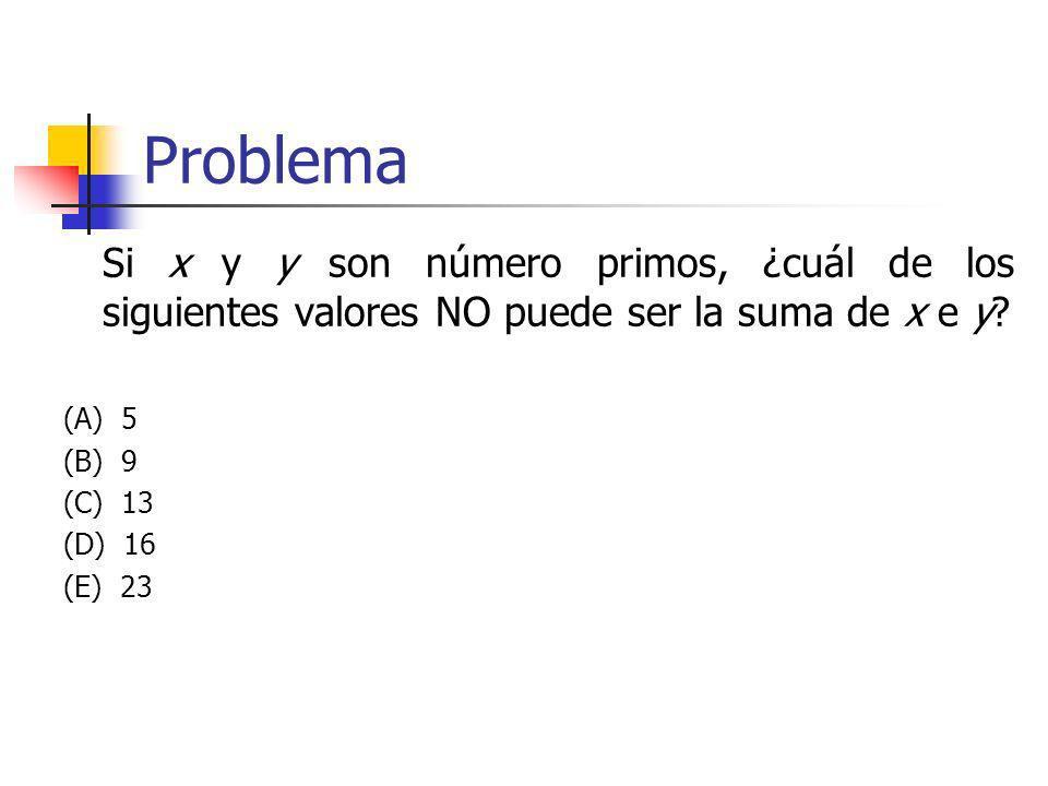 Problema Si x y y son número primos, ¿cuál de los siguientes valores NO puede ser la suma de x e y? (A) 5 (B) 9 (C) 13 (D) 16 (E) 23