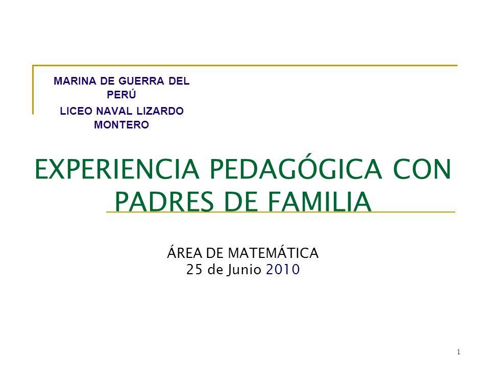 EXPERIENCIA PEDAGÓGICA CON PADRES DE FAMILIA ÁREA DE MATEMÁTICA 25 de Junio 2010 MARINA DE GUERRA DEL PERÚ LICEO NAVAL LIZARDO MONTERO 1