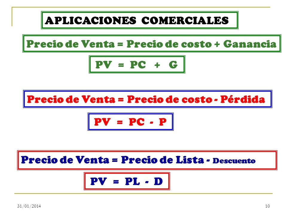 31/01/201410 APLICACIONES COMERCIALES Precio de Venta = Precio de costo + Ganancia Precio de Venta = Precio de costo - Pérdida PV = PC + G PV = PC - P