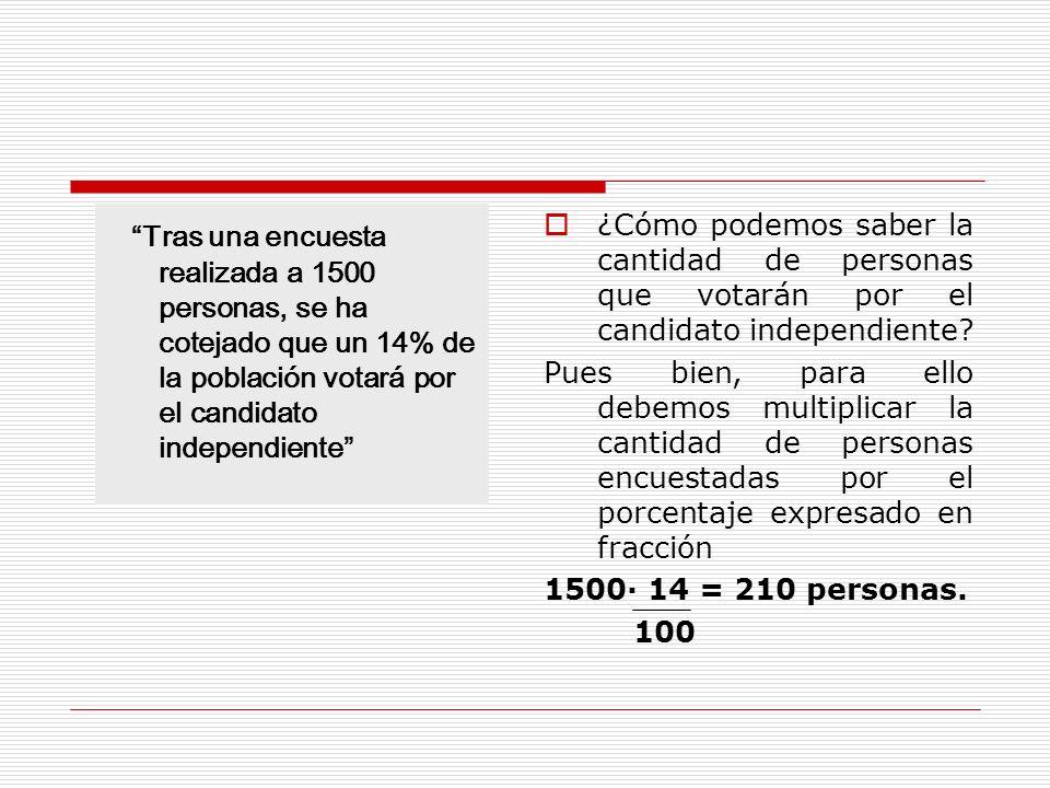Tras una encuesta realizada a 1500 personas, se ha cotejado que un 14% de la población votará por el candidato independiente ¿Cómo podemos saber la cantidad de personas que votarán por el candidato independiente.