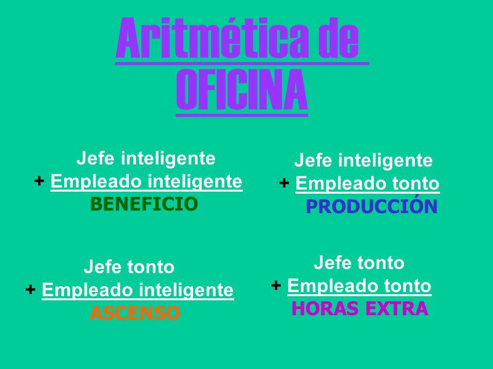 Aritmética de OFICINA Jefe inteligente + Empleado inteligente BENEFICIO Jefe inteligente + Empleado tonto PRODUCCIÓN Jefe tonto + Empleado inteligente
