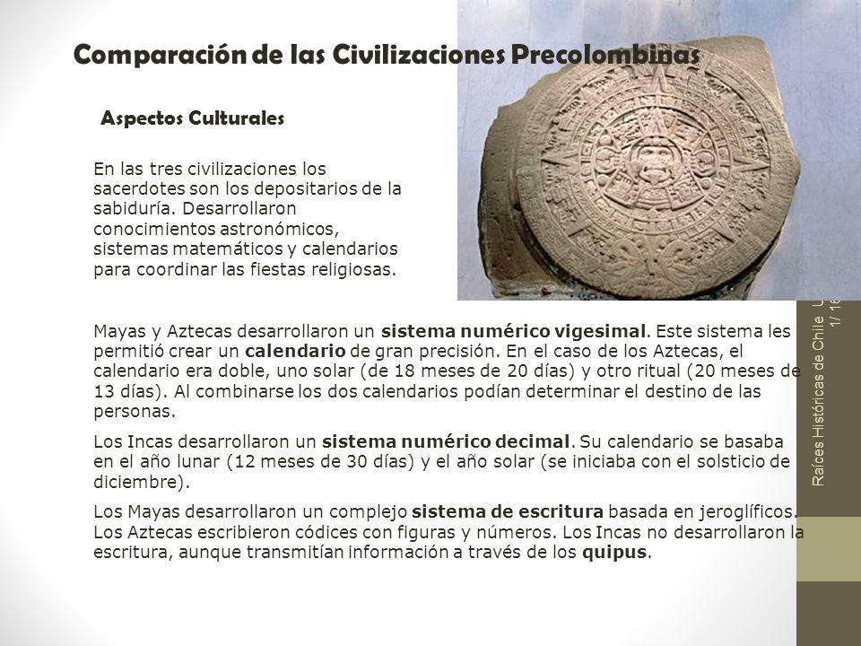 Raíces Históricas de Chile U 1/ 16 Comparación de las Civilizaciones Precolombinas Aspectos Culturales En las tres civilizaciones los sacerdotes son l