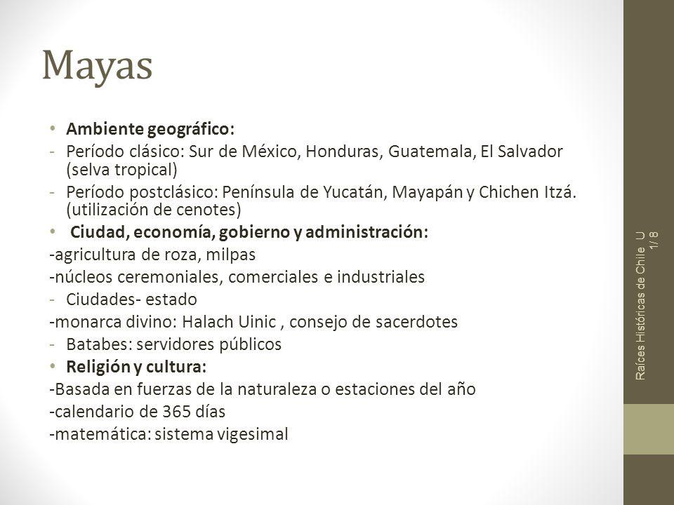 Mayas Ambiente geográfico: -Período clásico: Sur de México, Honduras, Guatemala, El Salvador (selva tropical) -Período postclásico: Península de Yucat