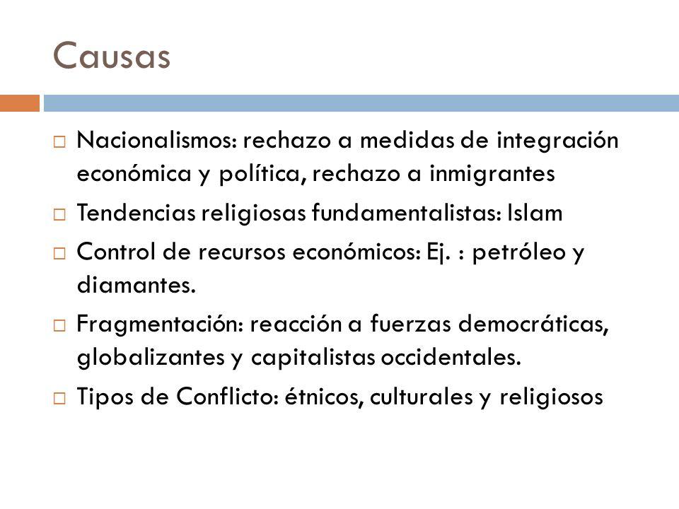 Causas Nacionalismos: rechazo a medidas de integración económica y política, rechazo a inmigrantes Tendencias religiosas fundamentalistas: Islam Contr