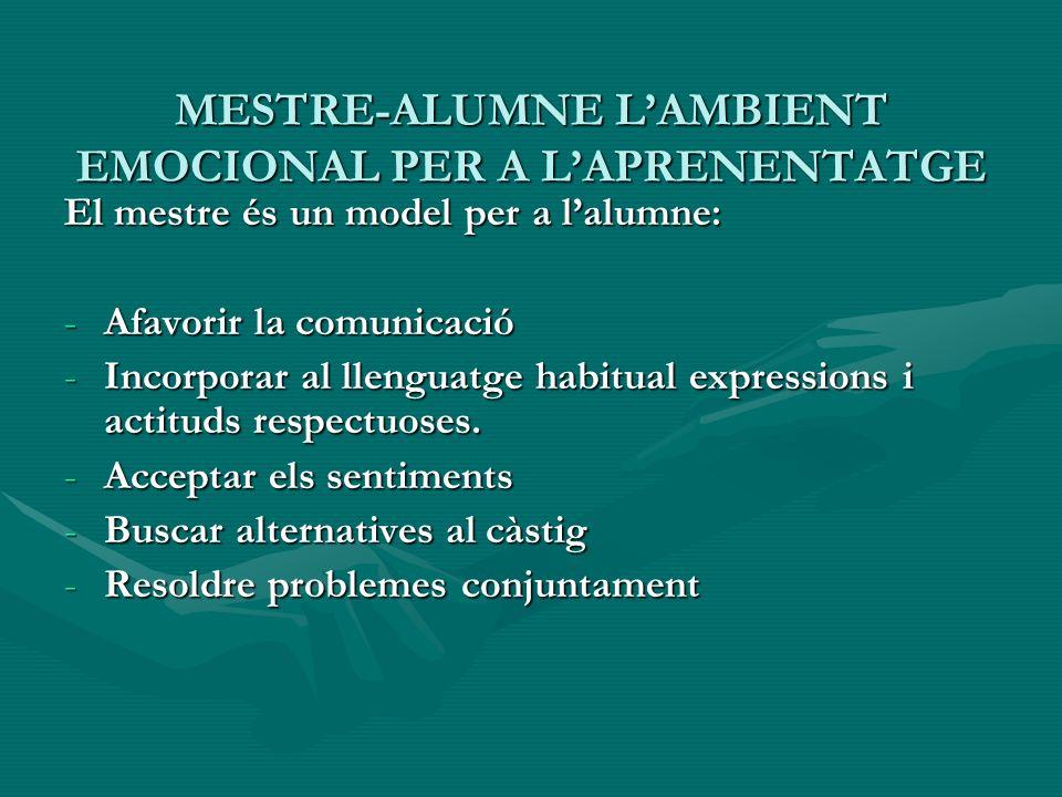 MESTRE-ALUMNE LAMBIENT EMOCIONAL PER A LAPRENENTATGE El mestre és un model per a lalumne: -Afavorir la comunicació -Incorporar al llenguatge habitual