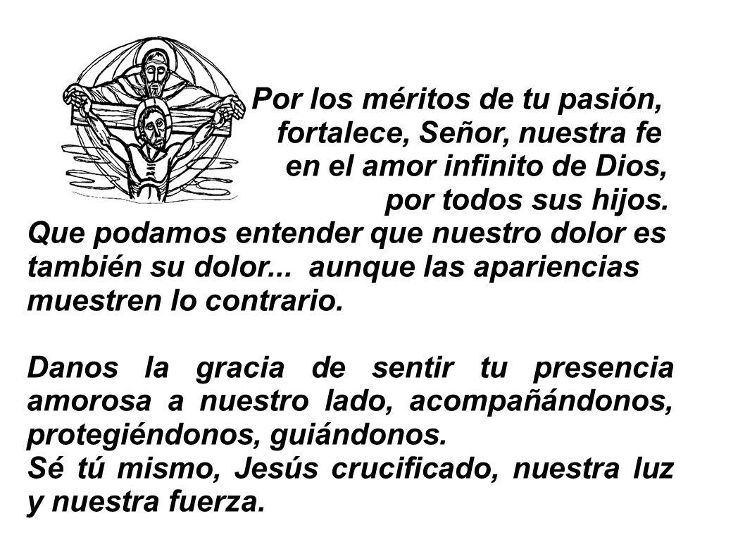 Por los méritos de tu pasión, fortalece, Señor, nuestra fe en el amor infinito de Dios, por todos sus hijos. Que podamos entender que nuestro dolor es
