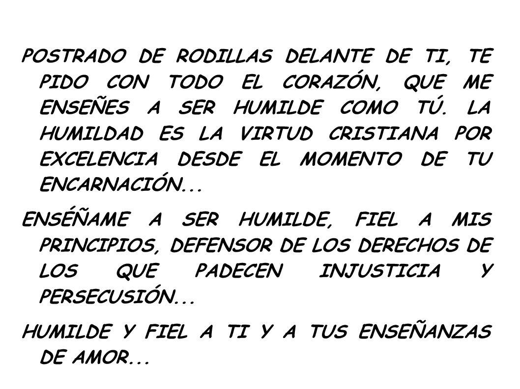 POSTRADO DE RODILLAS DELANTE DE TI, TE PIDO CON TODO EL CORAZÓN, QUE ME ENSEÑES A SER HUMILDE COMO TÚ. LA HUMILDAD ES LA VIRTUD CRISTIANA POR EXCELENC