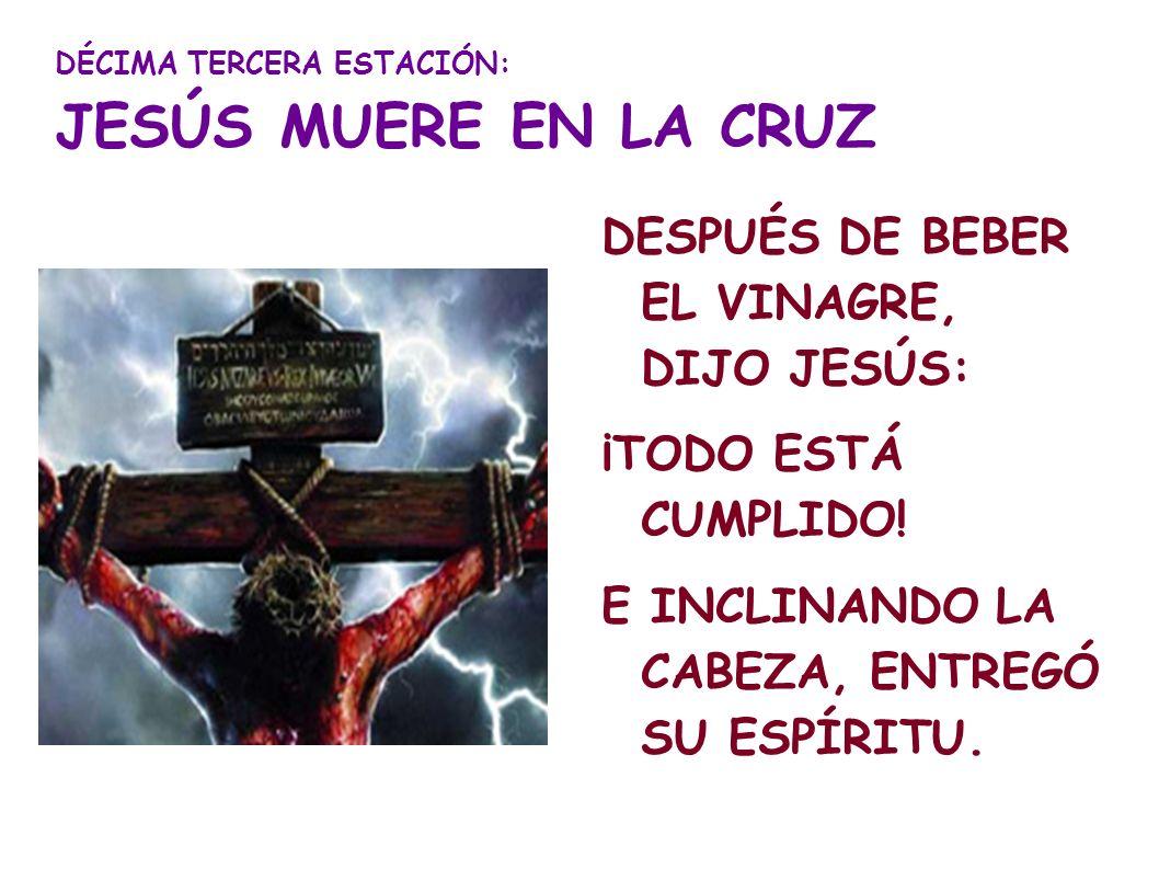 DÉCIMA TERCERA ESTACIÓN: JESÚS MUERE EN LA CRUZ DESPUÉS DE BEBER EL VINAGRE, DIJO JESÚS: ¡TODO ESTÁ CUMPLIDO! E INCLINANDO LA CABEZA, ENTREGÓ SU ESPÍR